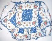 Reserved for littlerabbitfufu, HANKIE ROSES APRON handmade- vintage 1950s