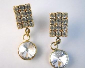 WHITE RHINESTONES DAZZLING earrings- vintage 1980s, pierced ears, 1 inch each
