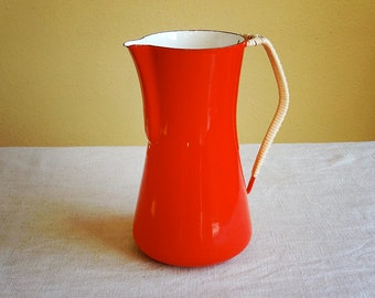 vintage Dansk Kobenstyle enamel coffee pot, red pitcher made in Denmark