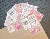 Black White and Read All Over .. Library  .. UNused Vintage Postage Stamps  .. post 5 letters