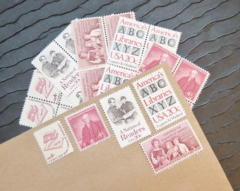 A B C .. Library  .. UNused Vintage Postage Stamps  .. post 5 letters