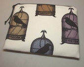 Padded Zipper Cosmetic Pouch in Victorian Crow or Jackdaws Print Fabric