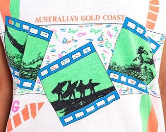 The Vintage Neon Aussie Gold Coast Surfing Tee