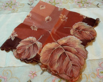 Lovely Vintage Fall Leaves Handkerchief - Superb Condition - Fashion Accessory - 1960 Era (Credit Cards Accepted)