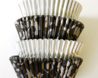 Assorted Gray Vine Cupcake Liners Standard Size 50 per pack