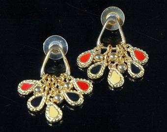 Fun Fashion Earrings, Retro, Teardrop Fringe, Red, Black, Yellow Enamel Pendants, Gold Plated, Pierced, LIke New