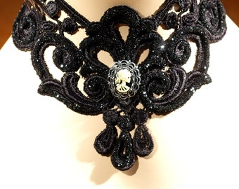Lace Steampunk Choker - Adjustable - Black Gothic Venice Lace Collar Necklace With Skeleton Goddess - Victorian Skull Cameo Choker Necklace