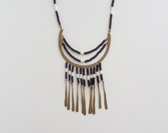 Tribal Heishi Fringe Necklace. Brass Bib. Glass.