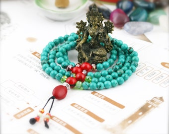 Pacifying 108 small japa mala (SJM) - turquoise and dyed holite