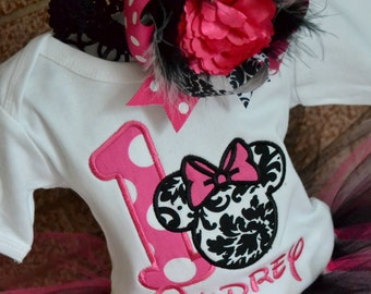 Minnie Mouse Birthday Shirt, Disney Birthday Shirt, Girls Birthday Shirt, Damask Birthday Shirt, Pink Polka Dot Minnie Mouse