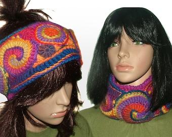 Womens Rainbow Headband Ear warmers Cowl Freeform Crochet OOAK