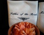 Mother Father of Bride Groom Wedding Hankerchiefs.Set of 2