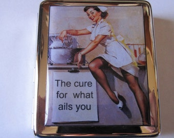 Pin Up Vintage Nurse Pill Box 8 Day with Mirror and customized text