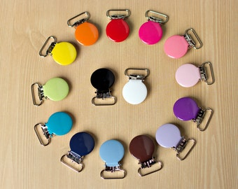 """10 ENAMEL - New 3/4"""" - Suspender Clips Pacifier Mitten Fabric Dummy Clips  LEAD FREE Round"""