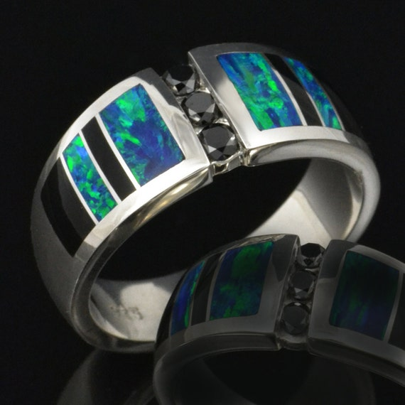 Men s Lab Created Opal Wedding Ring with Black Diamonds