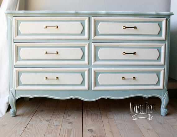 French Provincial Dresser Changing Table Painted Blue White