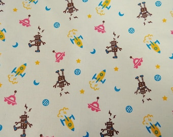 2487A -- Robot Fabric Brown in Linen White, Rocket, Projectile, UFO Fabtric