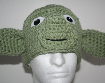 Unique handmade Yoda inspired character hat - Fun hat  - makes a great Halloween costume
