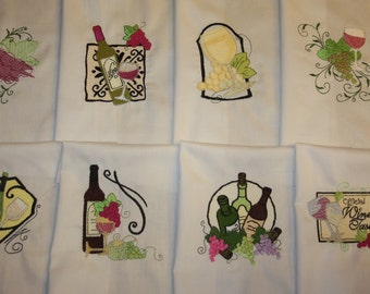 Wine Country Machine Embroidered Quilt Blocks
