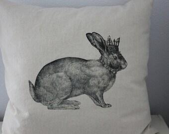 Vintage Crowned Rabbit Pillow Cover - Linen and Cotton Decorative Pillow