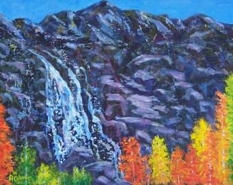 Colorado Fall Autumn Mountains Aspen Trees Rocks Original acrylic 9x12 Waterfall Painting