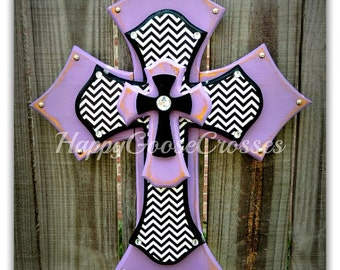 Medium Wall CROSS - Antiqued Lavender with Black & White Chevron