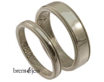 Milgrain fingerprint wedding ring set in 14k white size 6 narrow and size 9 wide- fingerprint rings