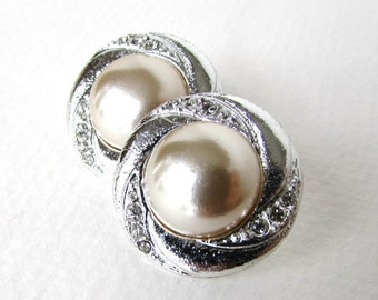 Vintage Rhinestone Buttons Ivory Glass Pearl Silver Metal Shank Czech 23mm but0235 (2)