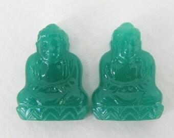 Vintage Glass Cabochon Jade Green Buddha Japan 20mm gcb1028 (2)