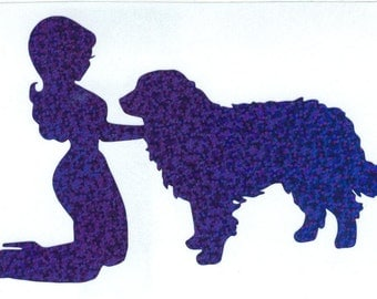 Bernese Mountain Dog and Pin Up Silhouette, Blue Glitter Vinyl Decal