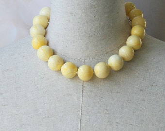 Chunky Yellow Beaded Necklace Choker Big Beads Sponge Coral