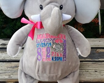 personalized baby gift, stuffed plush elephant with name stuffed animal, elephant, keepsake custom embroidery design, best baby gift ever