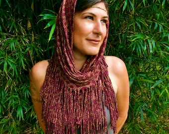 Maroon and Gold Najm Infinity Scarf - Star Pattern - Head Scarf - Dust Mask - Shawl - Cowl