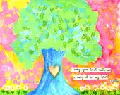 ee cummings quote, i carry your heart, tree painting art PRINT, 8x10, tree, daisies, pink, yellow, love, child's room