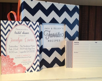 Chevron Recipe Shower Package: Recipe Album and Printable Shower Invitation and 50 Recipe Card, pick your fabric and colors