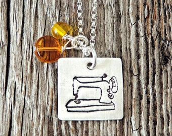Featherweight Sewing Machine Charm Necklace, Square Sewing Machine Charm, Quilting Necklace, Love of Fabric Jewelry, Sewing Necklace