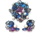 Vintage Botanical Purple Blue Faux Pearl Acorn Rhinestone Glass Stone Jewelry Set