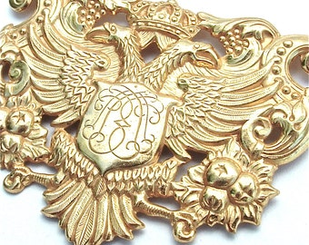 Signed Miriam Haskell Brooch Large Coat of Arms Phoenix Crown Feathers Eagle Costume Vintage Jewelry