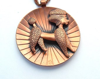 Copper Necklace Vintage Dog Poodle Statement Necklace Retro Kitsch Jewelry