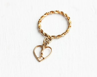 Heart Charm Ring, Gold Heart Ring, Heart Ring, Charm Ring