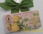 Colorful Yellow Vintage French Postcard  Botanical Roses Marble Subway Tile Sign with Green Ribbon Hanger
