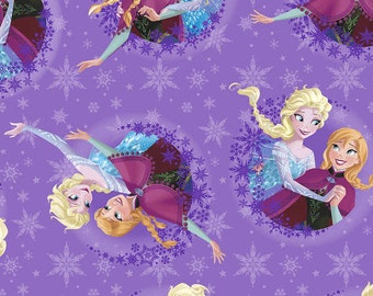 FLEECE - by the yard - Disney Frozen Fabric - Sisters Ice Skating Snowflake Fleece - In Stock
