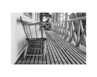 Front Porch Fine Art Photography Black and White Scottish Lodge Rustic simple Home Decor Large Wall Art Peaceful Wooden bench cottage rural