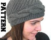 Instant Download Knit hat pattern- Digital  Hat Knitting PATTERN PDF - Cable Knit hat  Pattern - Cloche Hat Knit Pattern