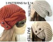 Downloadable Pattern   3 Hat Pattern   Knitting Pattern   Slouchy Beanie Pattern   Instantdownload Pattern