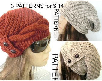 Downloadable Pattern   3 Hat Pattern   Knitting Pattern   Slouchy Beanie Pattern   Instantdownload Pattern