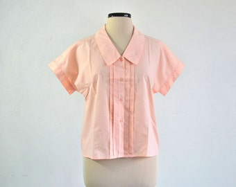 Vintage 80s Blouse Peach with Pin Pleats 20s inspired - large to extra large