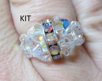 Rockin Rhinestone Ring KIT (Clear AB) Jewelry Making