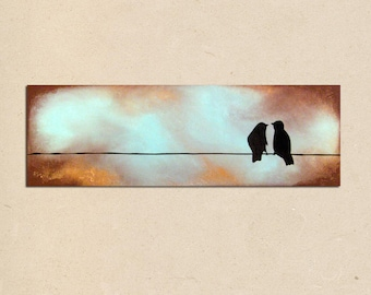 custom - dreaming together - 36 x 12, original modern contemporary acrylic PAINTING canvas, textured abstract bird art - anniversary gift