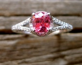 Pink Padparadscha Sapphire Engagement Ring in 14K White Gold with Diamonds Scrolls & Split Shank Size 9
